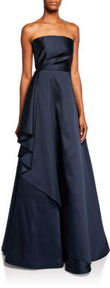 Sachin + Babi Lou Strapless Satin Bustier Gown with Side Ruffle Detail