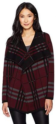 Chaus Women's Long Sleeve Plaid Cardigan