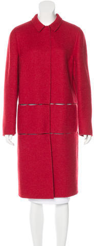 prada Prada Lace-Accented Wool Coat