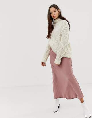 Free People Normani Bias satin midi skirt