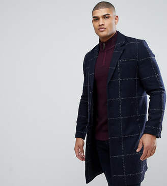 Asos DESIGN Tall checked wool mix overcoat in navy