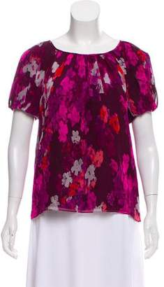 Tibi Silk Floral Print Short Sleeve Top