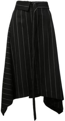 Juun.J asymmetric striped skirt