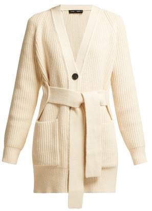 Proenza Schouler Belted Chunky Knit Cotton Blend Cardigan - Womens - Ivory