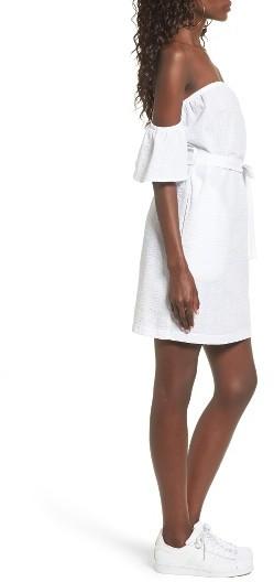 Women's Mimi Chica Seersucker Off The Shoulder Dress 3