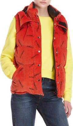 Fiorucci Orange Logo Quilted Corduroy Vest