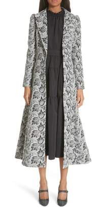 Co Long Embroidered Jacquard Coat