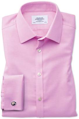 Charles Tyrwhitt Extra Slim Fit Non-Iron Square Weave Pink Cotton Dress Shirt Single Cuff Size 15/35