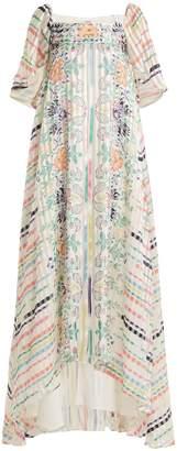 Vilshenko Jasmine floral and striped-print silk dress