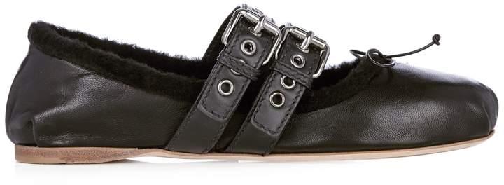 MIU MIU Leather and shearling ballet flats
