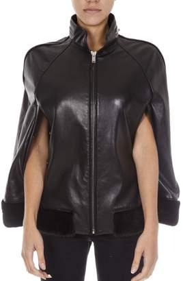 Saint Laurent Black Leather Mantle Jacket