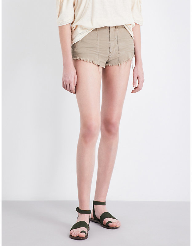Free People Raw & Patched frayed-hem cotton-twill shorts