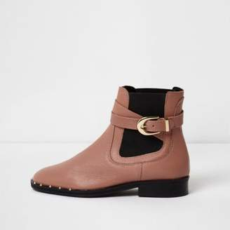 River Island Dark beige buckle side leather chelsea boots