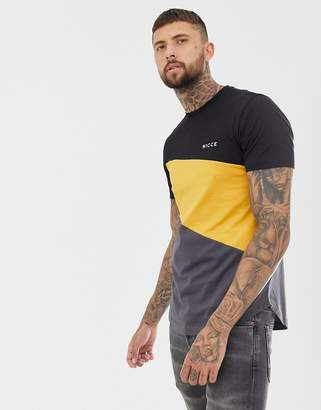 Nicce London t-shirt in black with color block