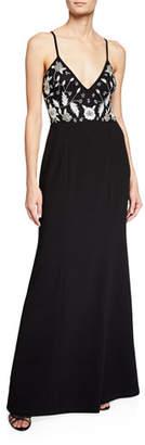 Aidan Mattox Handed-Beaded V-Neck Sleeveless Long Crepe Dress