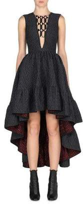 Fendi Sleeveless High-Low Jacquard Gown