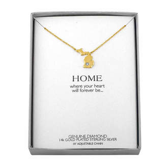 FINE JEWELRY Diamond Accent 14K Yellow Gold over Silver Michigan Pendant Necklace