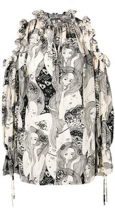 Alexander McQueen printed open shoulder blouse