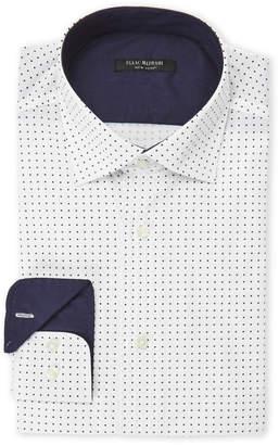 Isaac Mizrahi White & Navy Dotted Slim Fit Stretch Dress Shirt