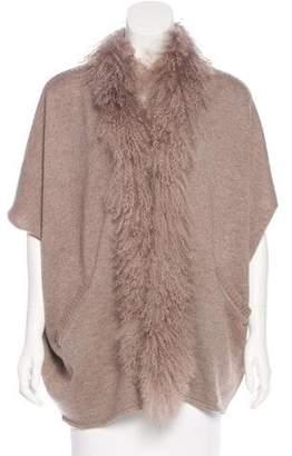 Alberto Makali Lamb Fur-Trimmed Cardigan