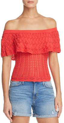 GUESS Amina Pointelle Off-the-Shoulder Top
