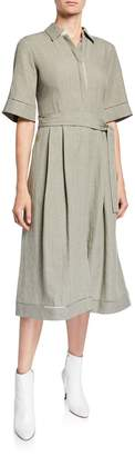 Lafayette 148 New York Eleni Linen Tie-Belt Dress