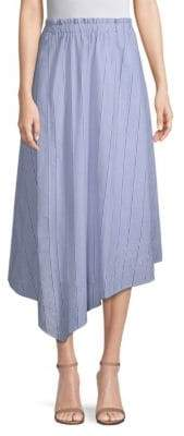 Donna Karan Striped Eyelet Cotton Midi Skirt