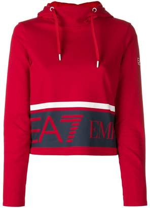 Emporio Armani Ea7 logo cropped hoodie