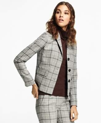Brooks Brothers Windowpane Stretch-Wool-Cashmere Jacket