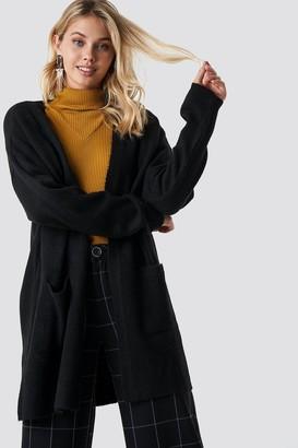NA-KD Na Kd Plain Knitted Midi Cardigan Beige