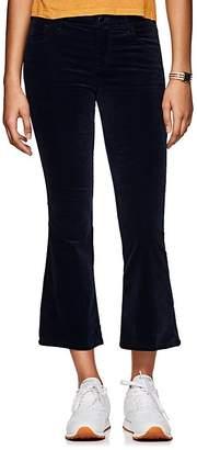 J Brand Women's Selena Velvet High-Rise Crop Flared Pants