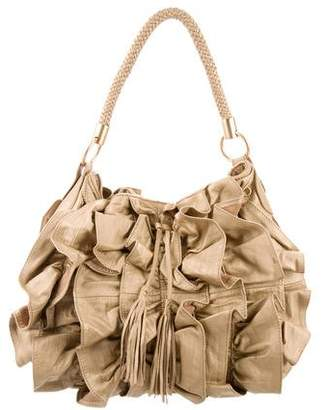 Adrienne Vittadini Ruffled Leather Hobo