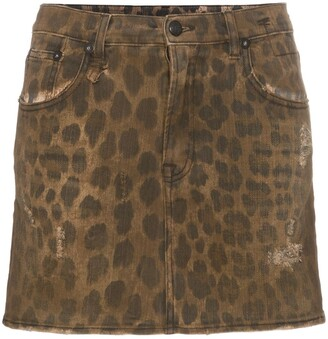 R 13 high rise leopard print cotton mini skirt