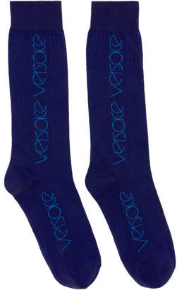 Versace Blue Logo Socks