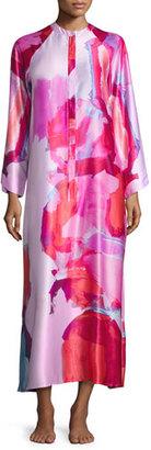 Natori Abstract-Print Zip Caftan, Bright Lilac Multi $180 thestylecure.com
