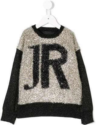 John Richmond Junior jacquard logo knit sweater