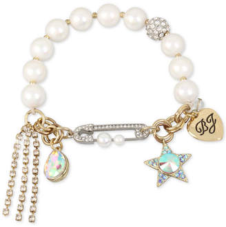Betsey Johnson Gold-Tone Crystal Star & Stone Imitation Pearl Stretch Bracelet