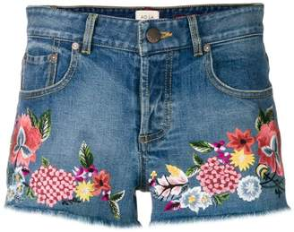 Alice + Olivia Alice+Olivia floral embroidered denim shorts