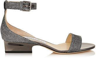 Jimmy Choo EDINA 35 Anthracite Lame Glitter Wedges