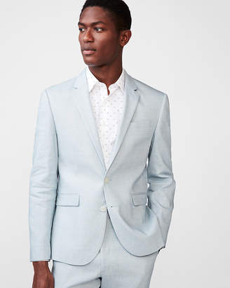 Express Extra Slim Light Blue Stretch Linen-Wool Suit Jacket