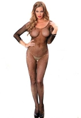 Leg Avenue Women's Long Sleeve Fishnet Lurex Bodystocking, Black/Gold, One Size