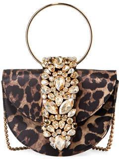 Gedebe Brigitte Mini Jeweled Leopard Top-Handle Bag
