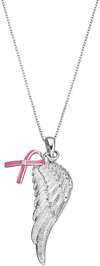 Sterling Silver Diamond Accent Pink Ribbon Charm & Angel Wing Pendant
