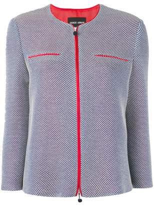 Giorgio Armani contrast trim zipped jacket