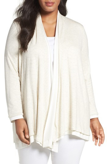 Three Dots Plus Size Women's Three Dots Reversible Open Front Cardigan