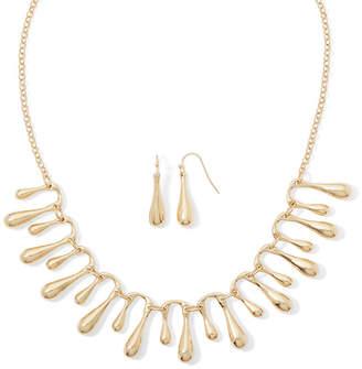 Liz Claiborne Gold-Tone Fringe Collar Necklace and Earring Set