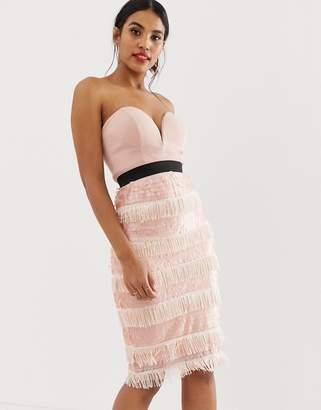 Rare London sequin fringe midi dress with sweetheart neckline in pink