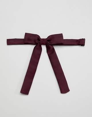 Asos DESIGN western bow tie in burgundy