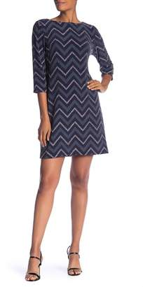 Sandra Darren Glitter Knit Zig Zag Dress