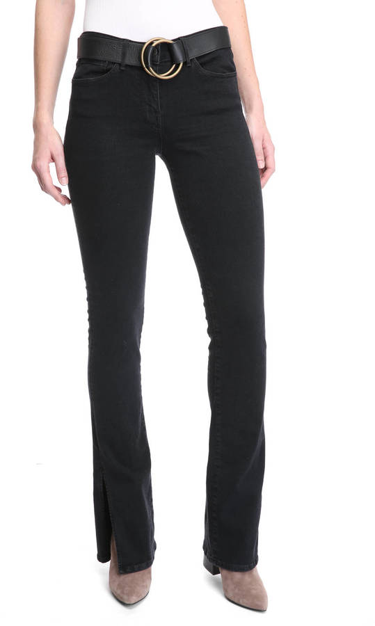 3x13x1 Black Stone Split Seam Bell Bottom Jeans